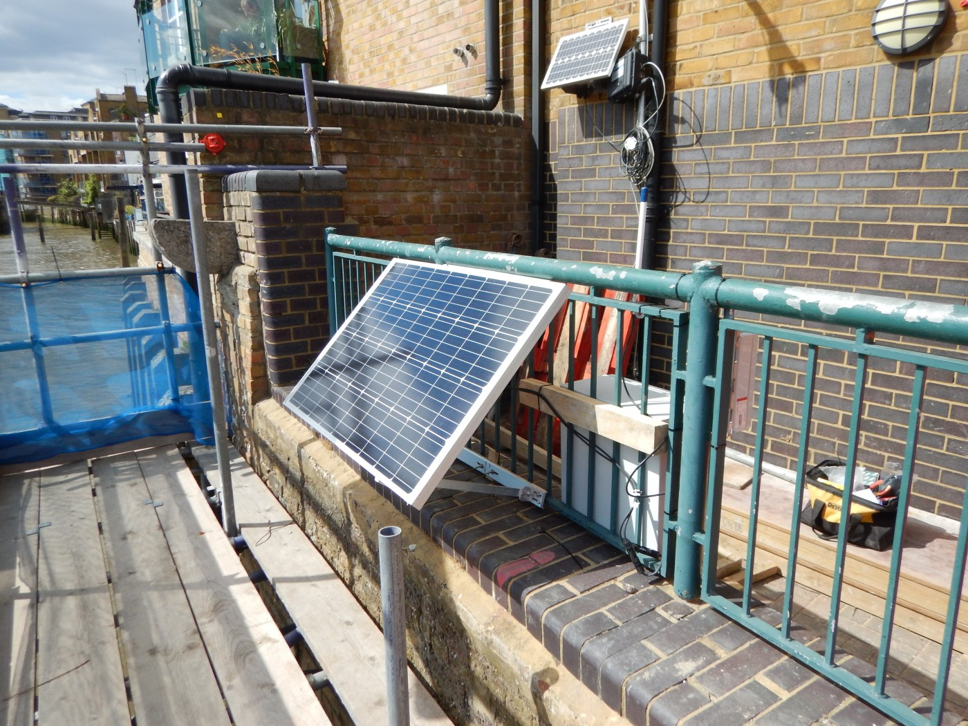 Solar panel powering the data logger at Duke Shore Wharf