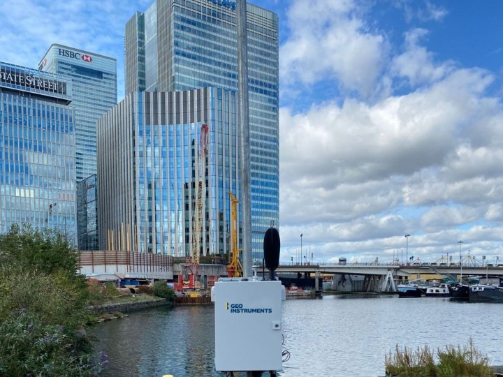 Environmental monitoring setup at Canary Wharf